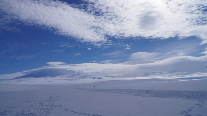 Mount Erebus with clouds