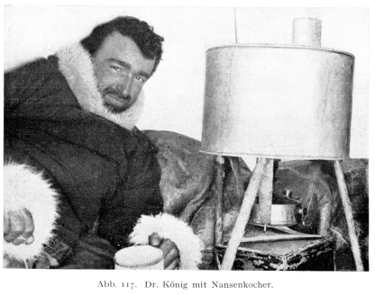 Felix Koenig in his igloo (1912)